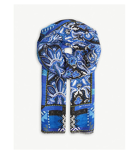 ETRO Paisley print linen scarf (Blue