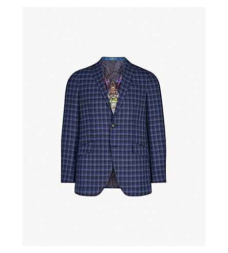 ETRO Minerva checked slim-fit cotton jacket (Blue