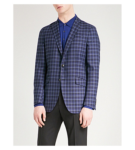 ETRO Minerva checked slim-fit cotton jacket (Blue
