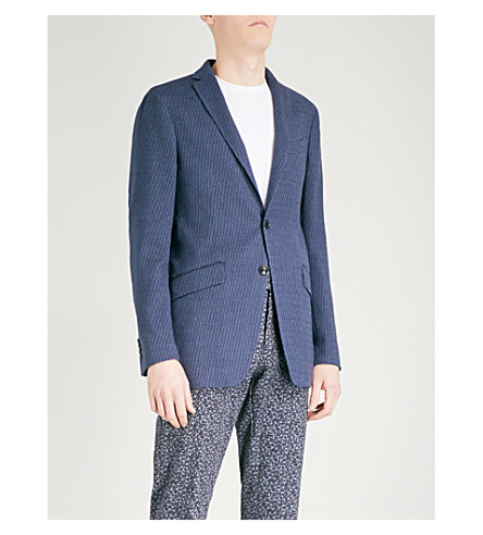 ETRO Minerva textured regular-fit woven jacket (Navy