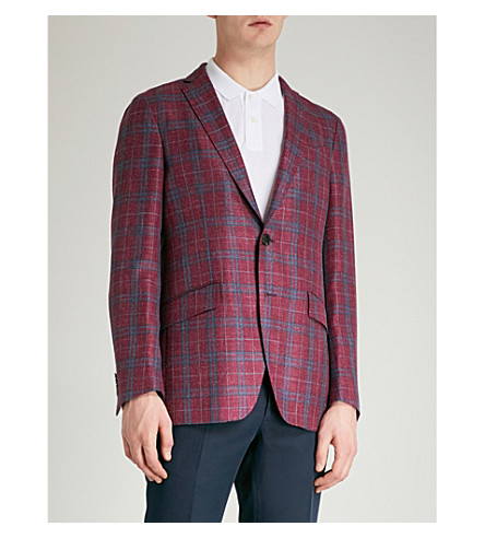 ETRO Minerva regular-fit wool, linen and silk-blend jacket (Raspberry