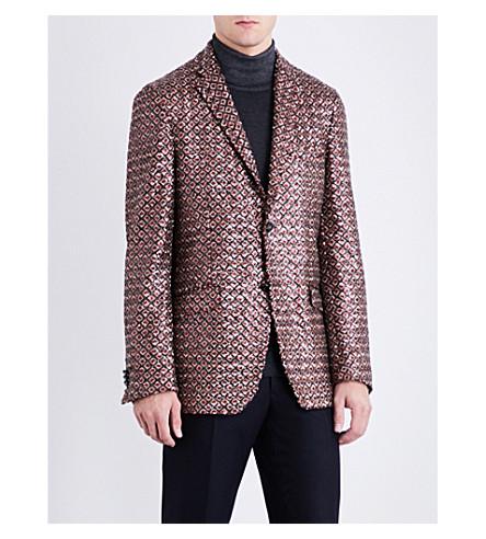 ETRO Diamond-patterned sequin-embellished jacket (Bordeux