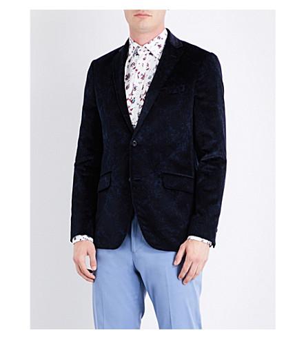 ETRO Floral-print velvet jacket (Navy