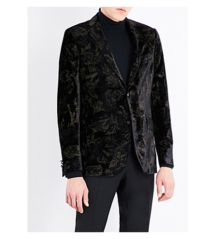 ETRO Rose-print regular-fit velvet jacket (Black/gold