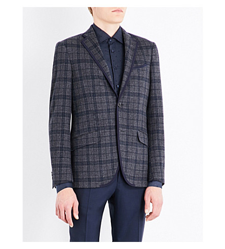 ETRO Checked tailored-fit cotton and wool-blend jacket (Grey