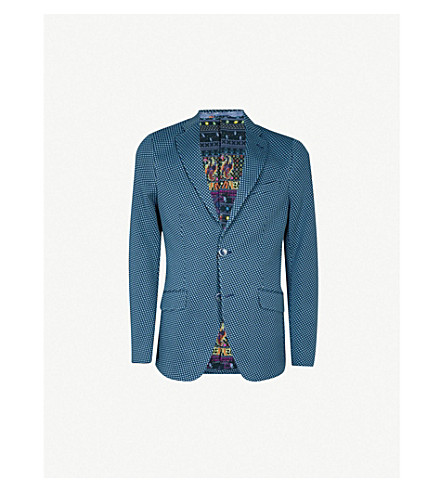 ETRO Geometric-patterned regular-fit cotton-jersey jacket (Blue