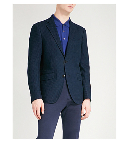 ETRO Textured slim-fit cotton jacket (Navy