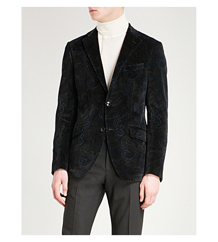 ETRO Paisley-print slim-fit velvet jacket (Navy