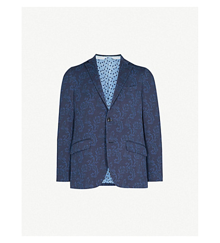 ETRO Paisley-print regular-fit cotton-jersey jacket (Navy
