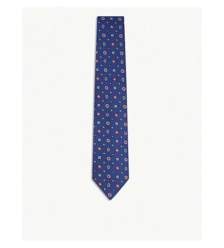 ETRO Floral paisley print silk tie (Blue