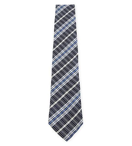 ETRO 提花条纹真丝领带 (蓝色