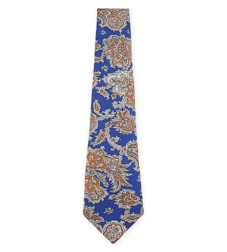 ETRO 花斜纹丝绸领带 (蓝色