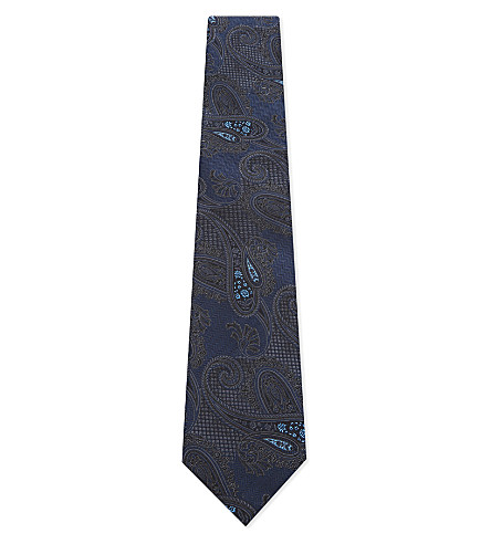 ETRO Big Paisley silk tie (Blue