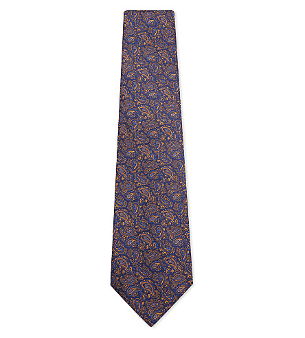 ETRO Neon paisley silk tie (Blue/orange