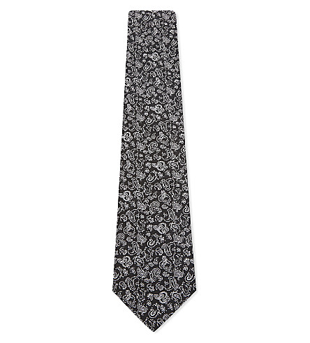 ETRO Small paisley silk tie (Black+silver