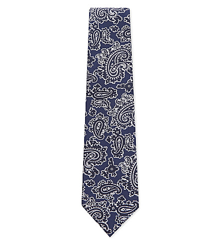 ETRO Metallic paisley silk tie (Blue