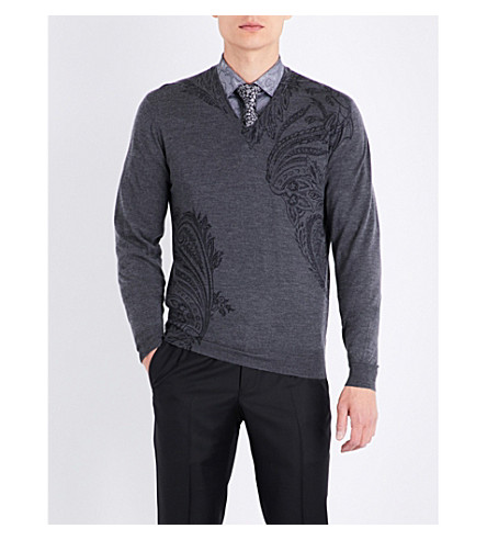 ETRO Paisley wool and silk-blend (Grey
