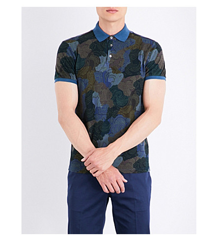 ETRO Paisley and camouflage-print cotton polo shirt (Blue/green