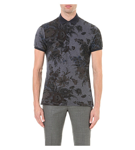 ETRO Floral cotton-piqué polo shirt (Blue