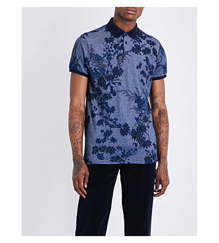 ETRO Botanical-print cotton polo shirt (Navy