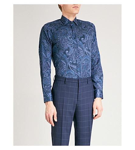 ETRO Paisley-patterned regular-fit cotton-poplin shirt (Navy