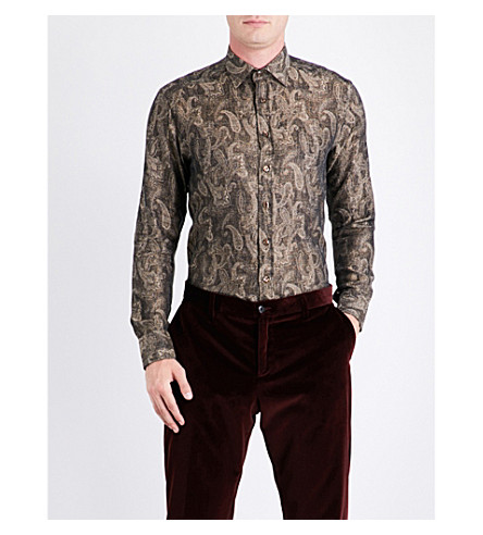 ETRO Paisley-pattern regular-fit cotton and wool-blend shirt (Gold