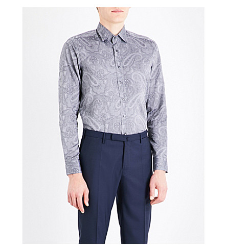 ETRO Tonal paisley-pattern tailored-fit cotton shirt (Grey
