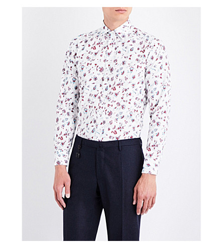 ETRO Floral-print tailored-fit cotton shirt (White/red