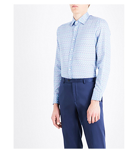 ETRO Micro floral-patterned tailored-fit cotton shirt (Blue/pink