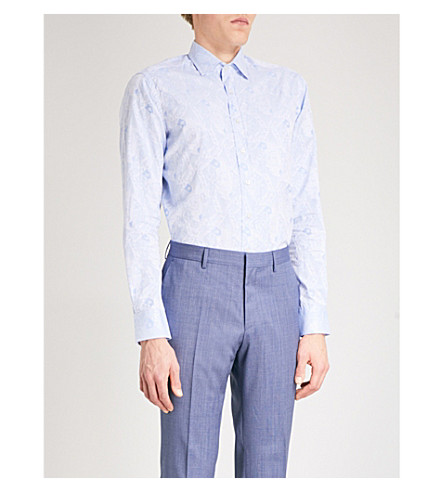 ETRO King of Hearts-patterned slim-fit cotton-jacquard shirt (Blue