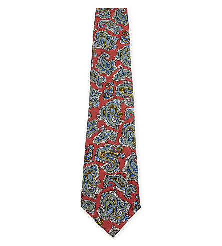 ETRO Combination silk tie (Red+paisly