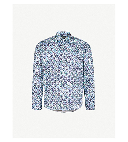 ETRO Paisley-patterned slim-fit cotton-poplin shirt (Blue