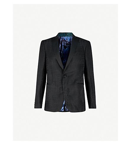 ETRO Crocodile jacquard linen and silk-blend tuxedo jacket (Black