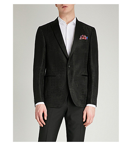ETRO Crocodile jacquard linen and silk-blend tuxedo jacket (Black