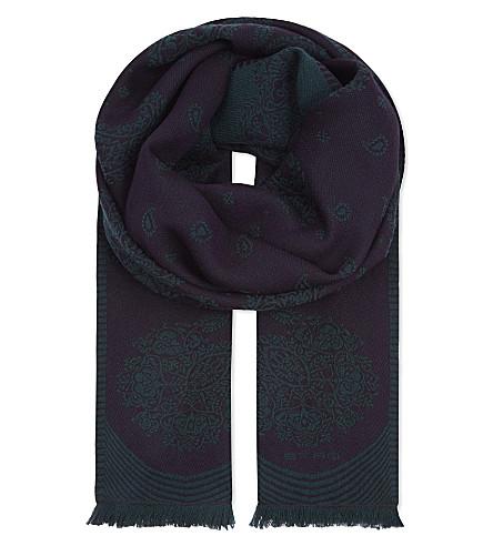ETRO Paisley print wool-blend jacquard scarf (Purple/green