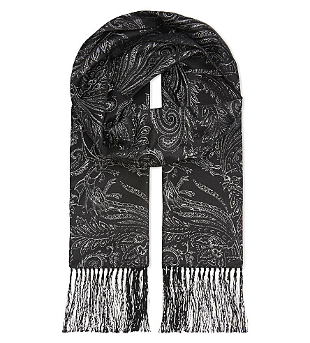 ETRO Paisley print silk evening scarf (Black/silver