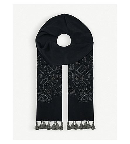 ETRO Sequinned silk scarf (Black