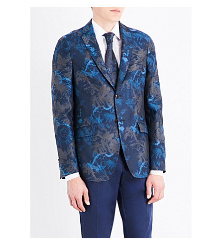 ETRO Floral jacquard slim-fit cotton blazer (Blues