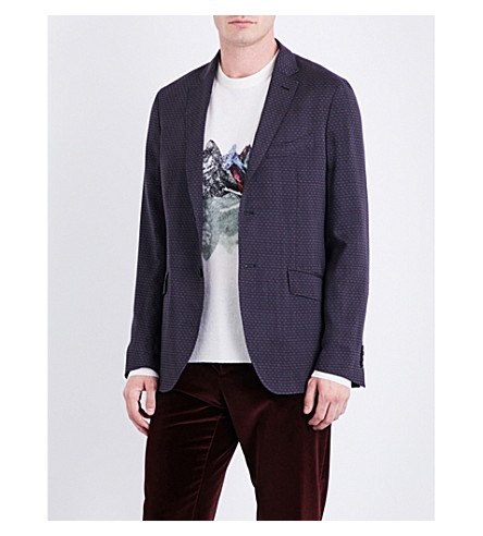 ETRO Micro-print regular-fit wool jacket (Navy