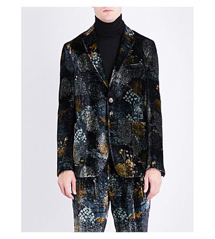 ETRO Forest-patterned regular-fit velvet jacket (Dark+green