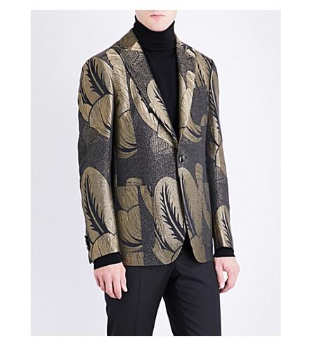 ETRO Metallic leaf regular-fit jacquard jacket (Gold/black