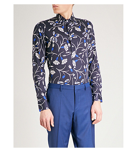 ETRO Spaced Out Floral regular-fit cotton-poplin shirt (Blue