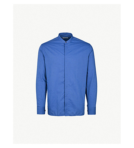 ETRO Regular-fit textured cotton shirt (Blue