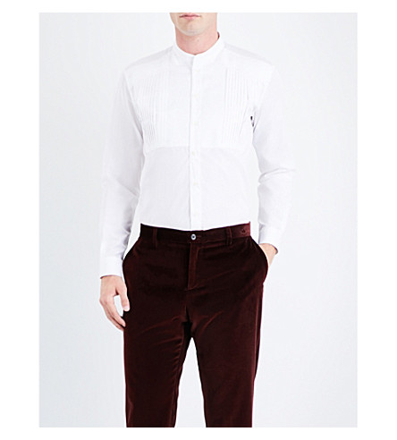 ETRO Regular-fit pleated cotton tuxedo shirt (White
