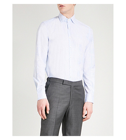 ETRO Striped-jacquard slim-fit cotton shirt (Blue