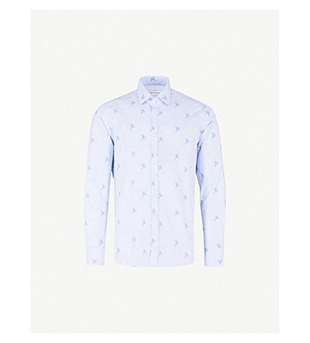 ETRO Frog pattern slim-fit cotton shirt (Blue