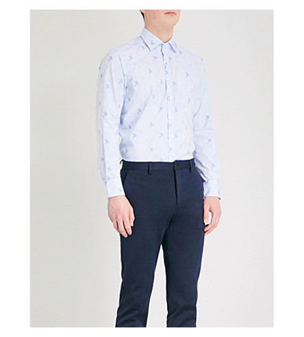 ETRO Frog pattern slim-fit cotton shirt (Blue