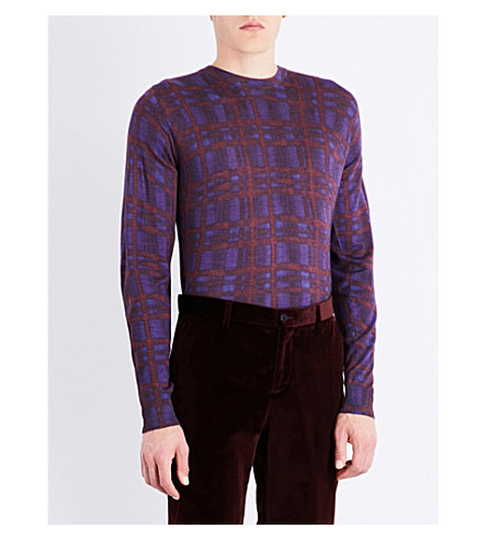 ETRO Checked wool, silk and cashemere jumper (Borduex