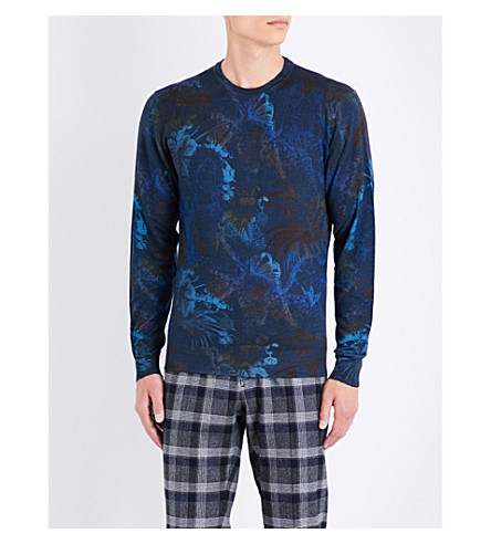 ETRO Botanical wool, silk and cashmere-blend jumper (Navy