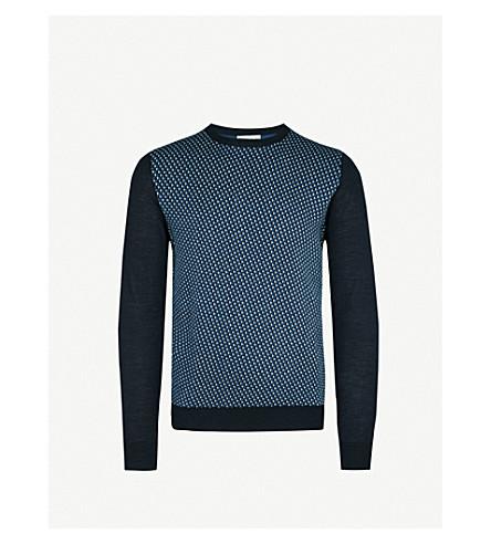 ETRO Geometric-pattern wool and silk-blend jumper (Blue